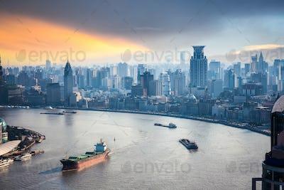 a bird's eye view of beautiful huangpu river
