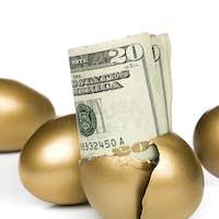 Hatched golden egg and cash