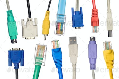 Assortment of computer cables