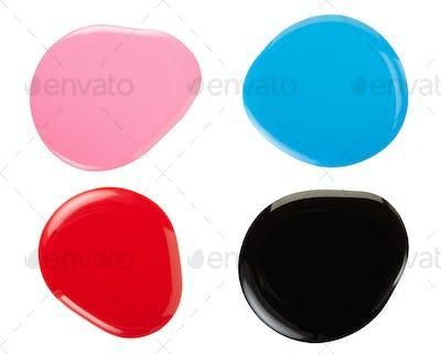 Nail polish colorful splodges isolated on white