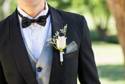 Midsection of bridegroom wearing boutonniere in garden