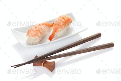 Shrimp sushi and chopsticks