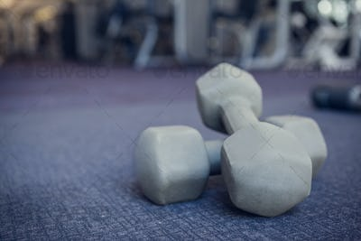 Grey dumbbells on the weights room floor at the gym