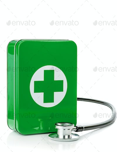 A First Aid Box with Stethoscope