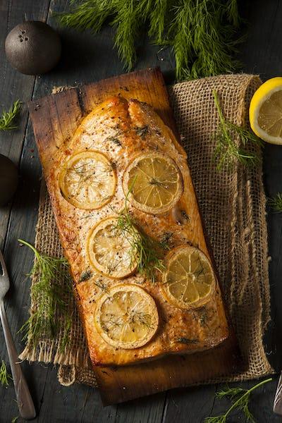 Homemade Grilled Salmon on a Cedar Plank