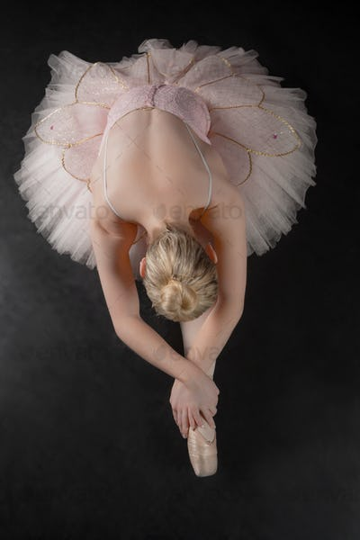 Graceful ballerina bending forward in pink tutu in the ballet studio