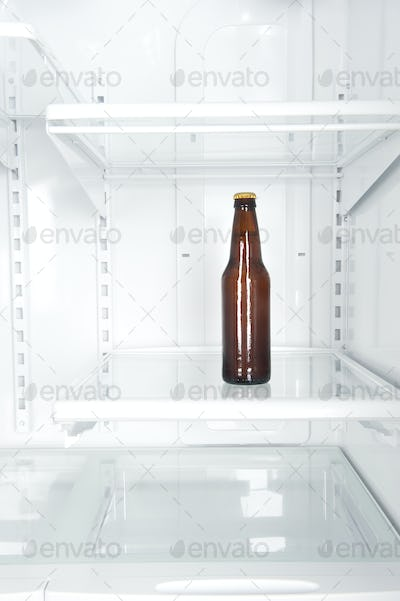 Bottle of beer in refrigerator