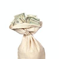 Burlap sack of cash