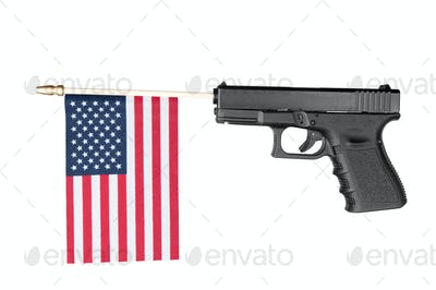 Gun shooting out a flag
