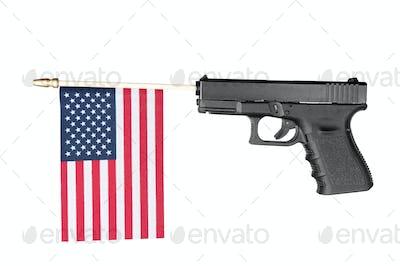 Gun shooting out a flag