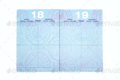 Passport with visa pages