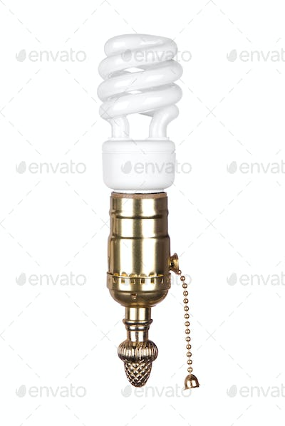 Lightbulb and socket with pull chain