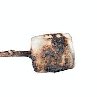 Burned marshmallow isolated on white