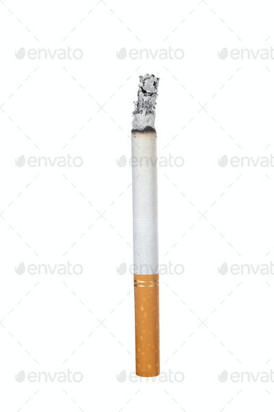 Burning cigarette on white