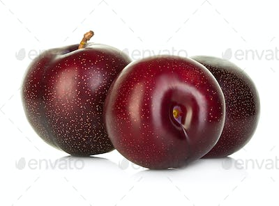 plums isolated on white background