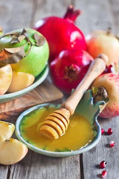 Pomegranate, apples and honey