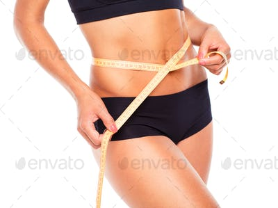 Woman measuring perfect shape of beautiful thigh healthy