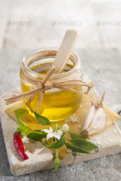 Olive oil, garlic and chili