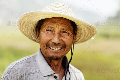Portrait of smiling farmer, rural China, Shanxi Province