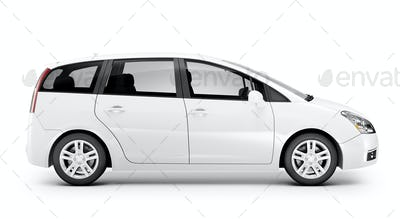 Studio Shot Of Three-Dimensional White Sedan