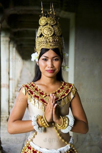 Indigenous Cambodian Female Dancer Greeting