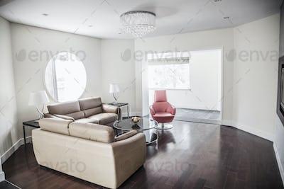 Modern, clean living room.