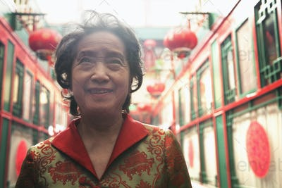 Portrait of senior woman in Chinese traditional clothing