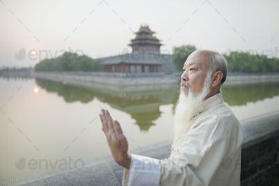 Senior Man Practicing Tai Ji