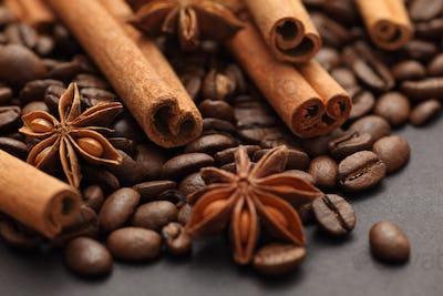 Cinnamon sticks, star anise and coffee beans