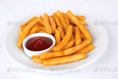 Potatoes fries with ketchup