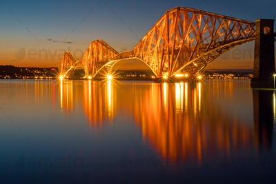 The illuminated Forth rail bridge