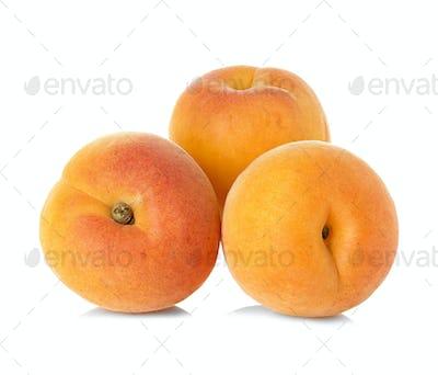 Ripe apricots fruit isolated on white background