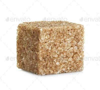 Brown sugar  cube, isolated on white background