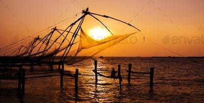 Fishing Nets of Cochin at Sunset