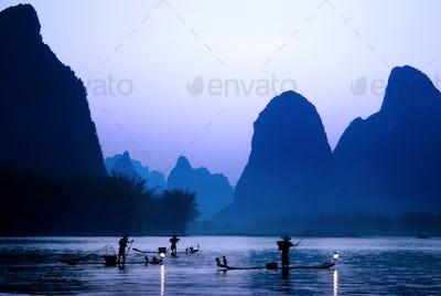 Silhouette of Fishermen in China