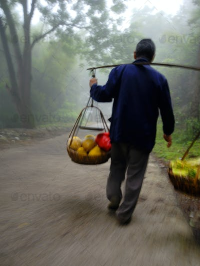 Chinese Man on the Way to Market