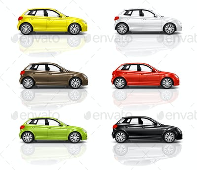 Collection of Multicolored New Modern Cars