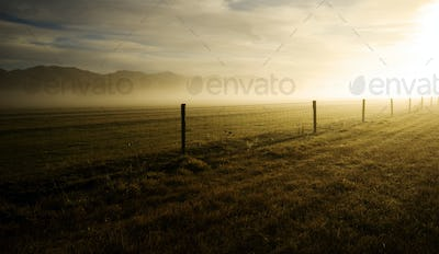 Sun Shining On The Field Covered With Fog