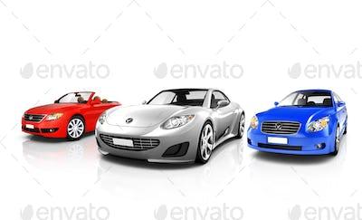 Group of Three Multicolored Elegant Cars