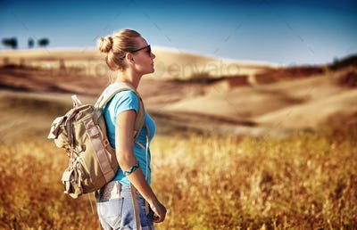 Tourist girl enjoying view