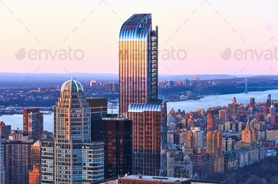 Cityscape view of Manhattan at sunset