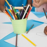 Children doing arts and crafts in a playschool