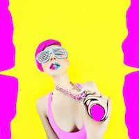 Acid crazy party. Glamour girl explodes