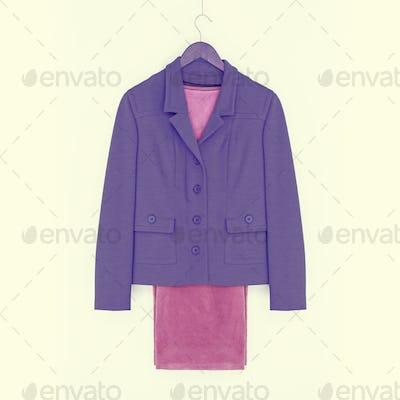 Suit, purple jacket and pink pants, vintage look