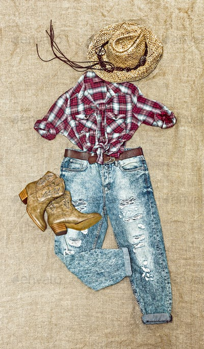 clothing in country style on vintage background