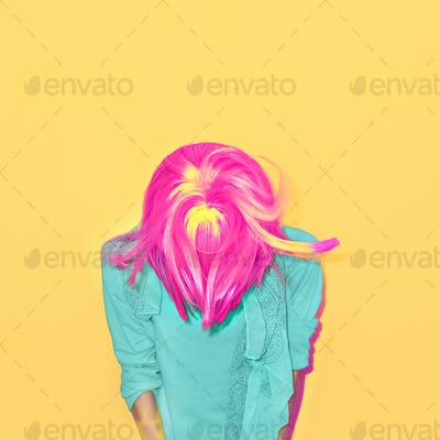 Colorful portrait of a stylish girl mix color