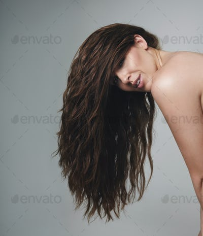 Female model with beautiful long hair