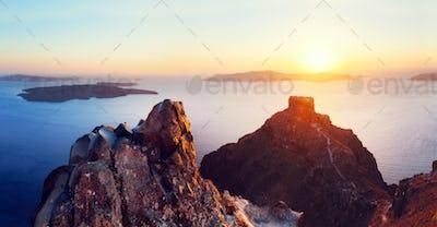 Cliff and volcanic rocks of Santorini island, Greece. View on Caldera