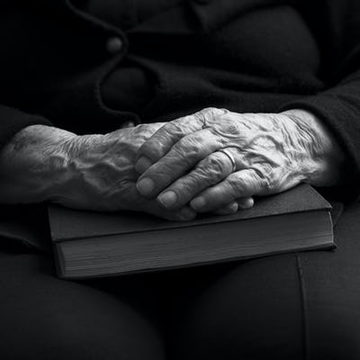 Old Hands. Black and white