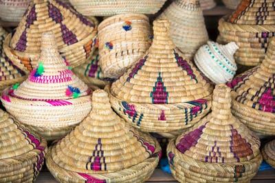 Wicker Tajines in the market, Morocco